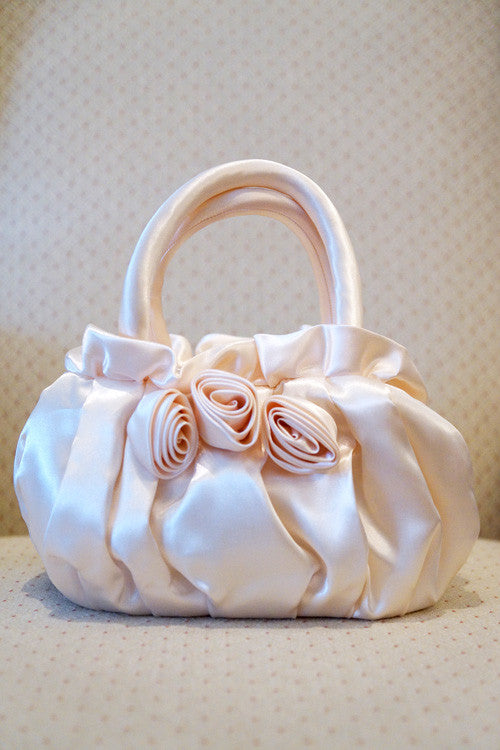 Evening Purse with Roses in Light Beige