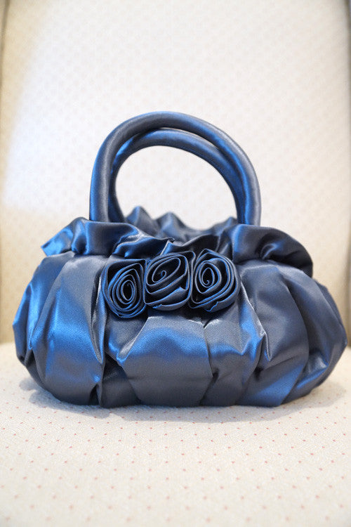 Evening Purse with Roses in Cool Gray