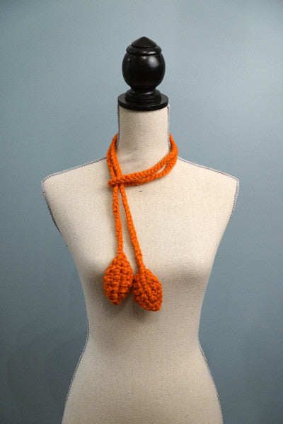 Petite Vines with Leaves Lariats - orange