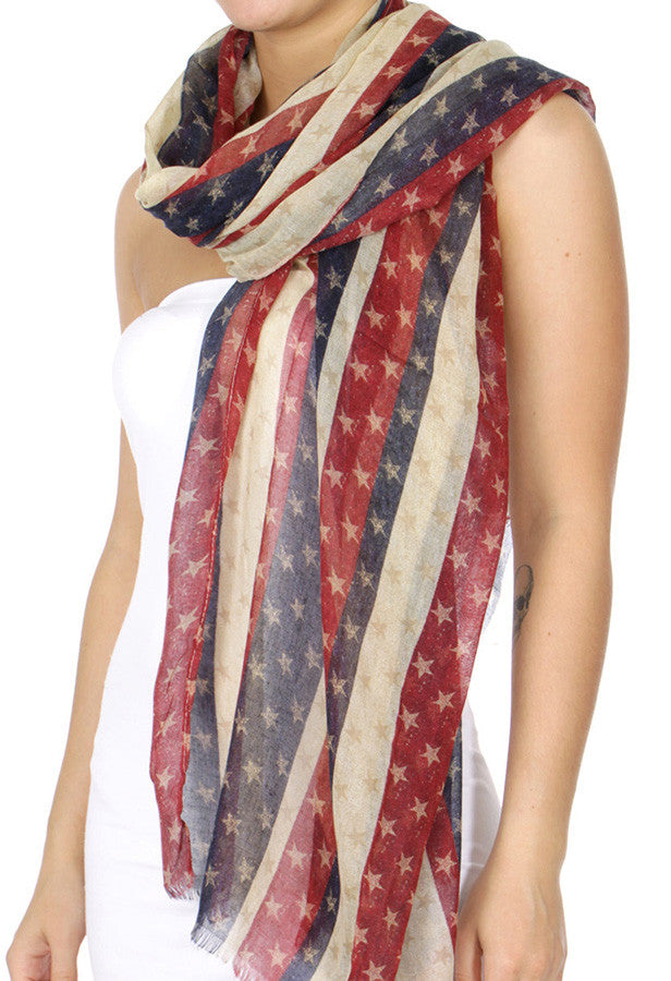 Red white & blue stars scarf