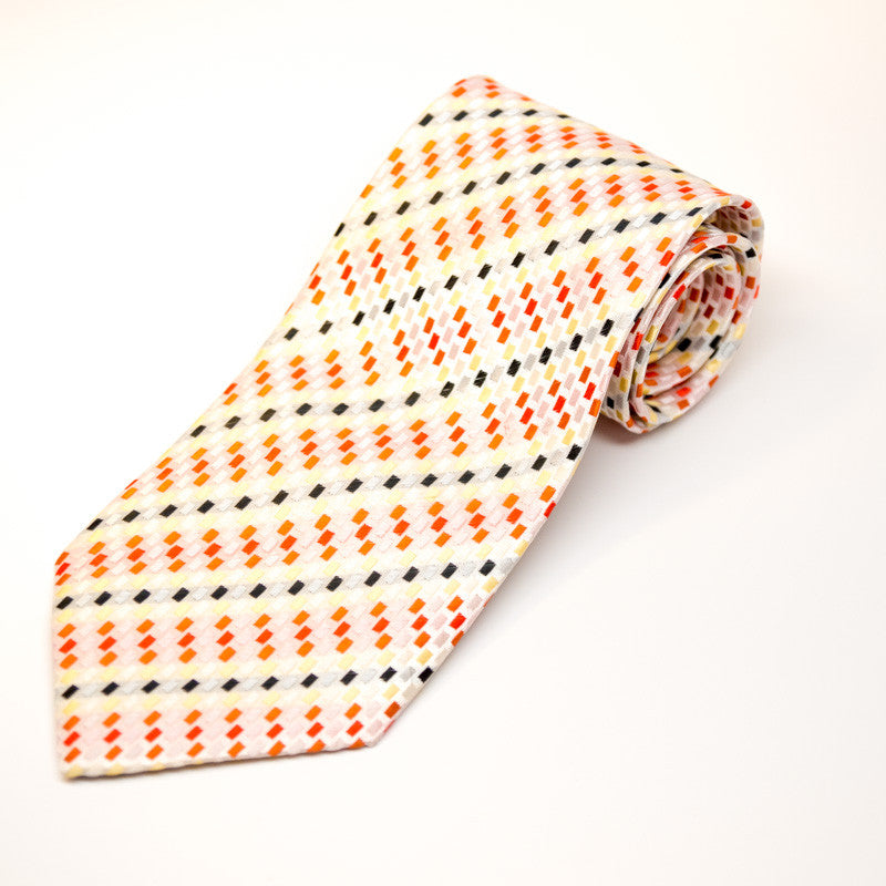 Silk Blend Tie - Sunset rectangle stripes