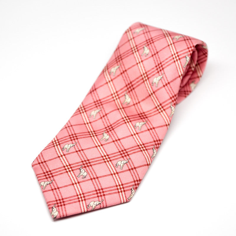 Silk Tie - Elephant gingham pattern, Red
