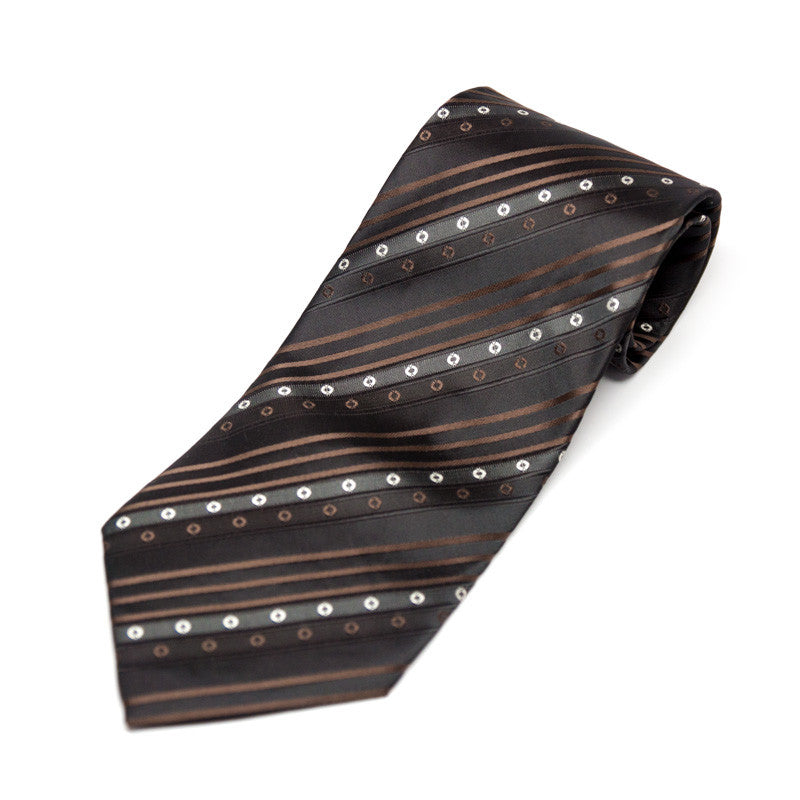 Silk Blend Tie - Black and Brown Stripes