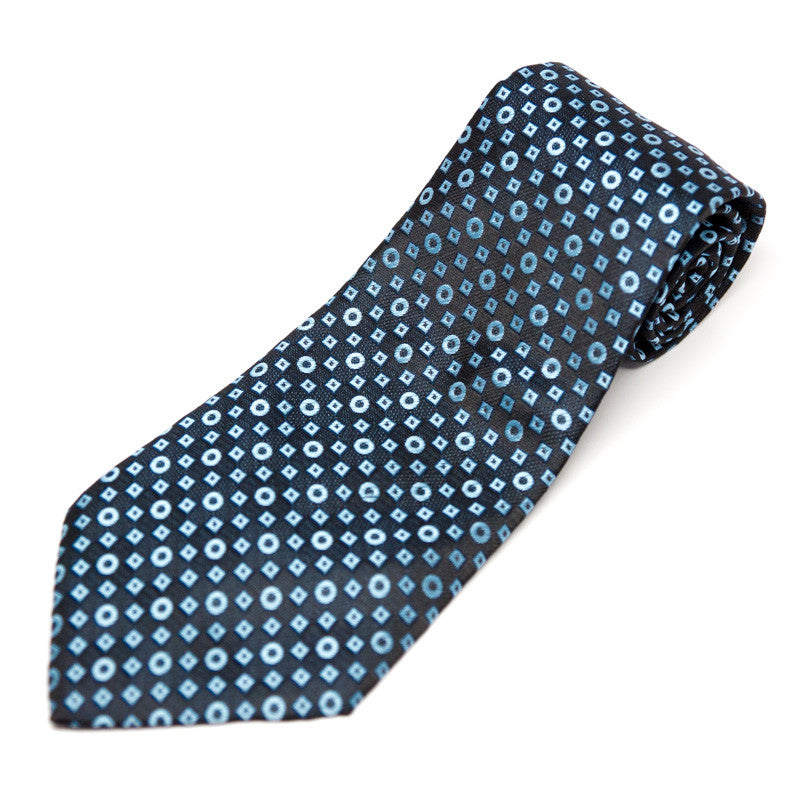 Silk Blend Tie - Black and blue circles/squares pattern