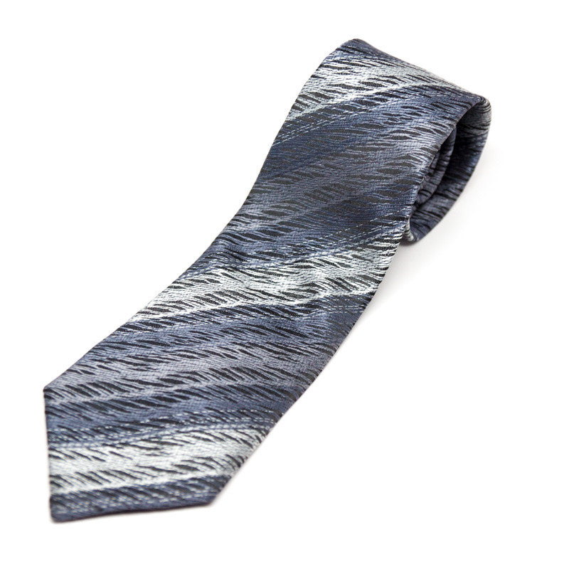 Silk Blend Tie - Silver blue abstract stripes