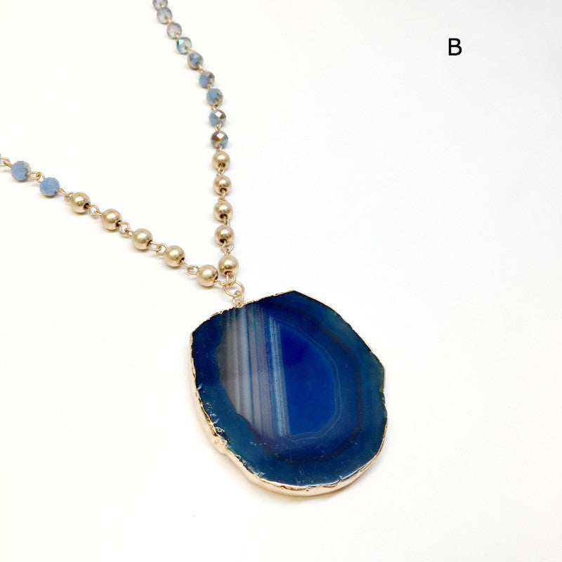 Natural Stone Agate Pendant Long Necklace