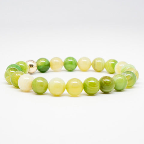 Striped Apple Green Agate Stone Bead Stretch Bracelet