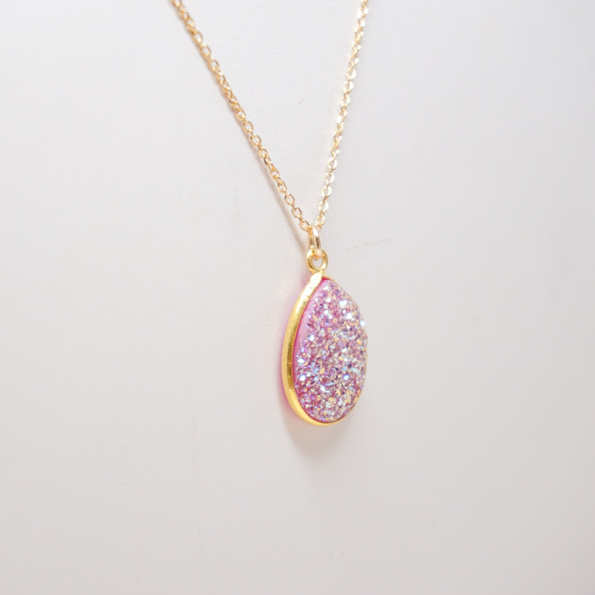 Natural Pink Druzy Necklace
