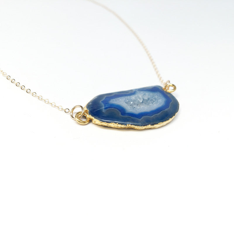 Blue Agate Druzy Necklace