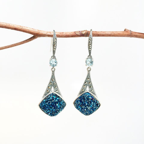 Blue Druzy Sterling Silver Earrings