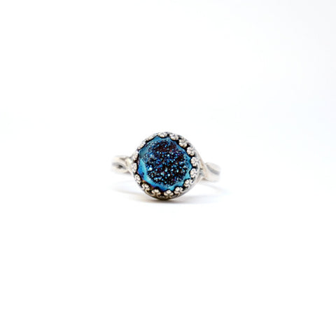 Navy Blue Druzy Sterling Silver Ring