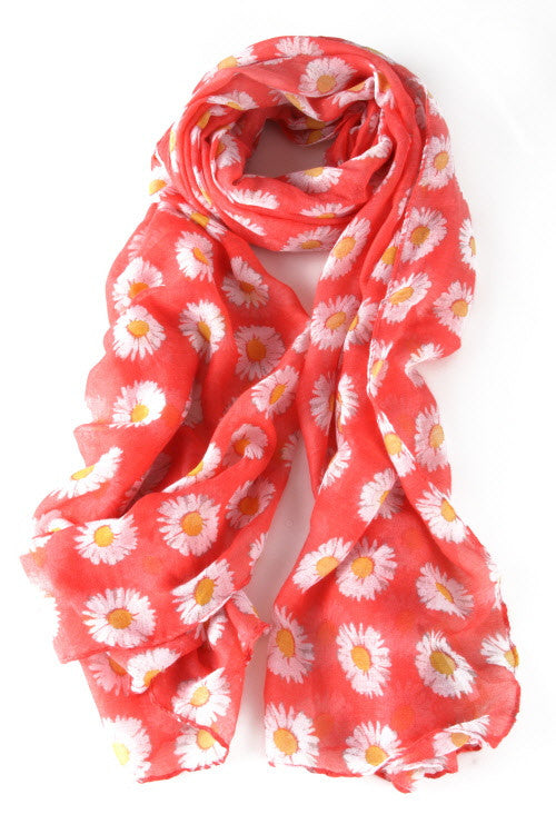 Daisy Print Scarf - Coral