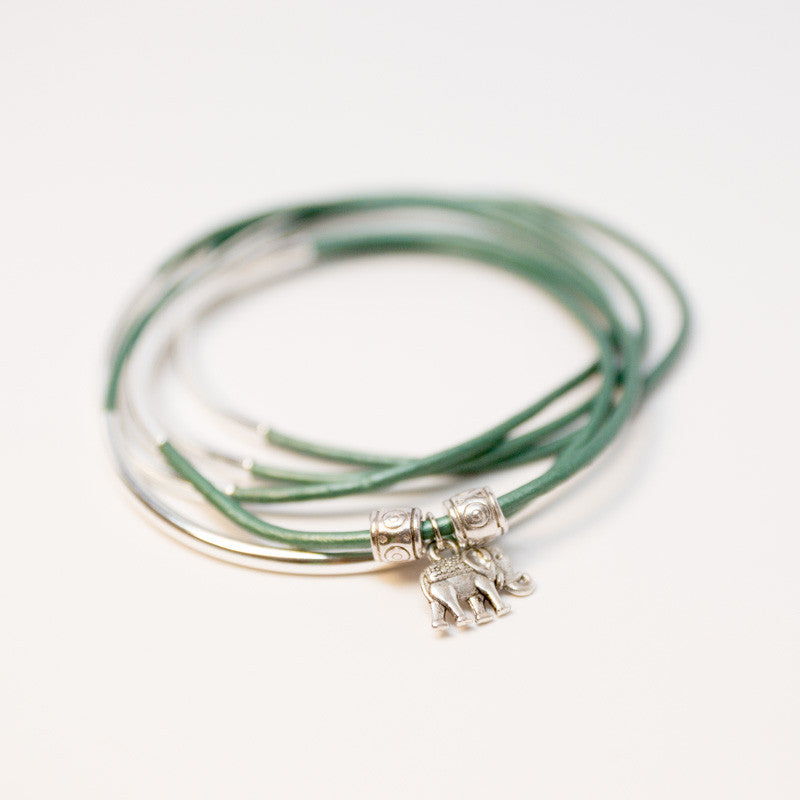 Lucky Elephant Leather Stackable Bracelet