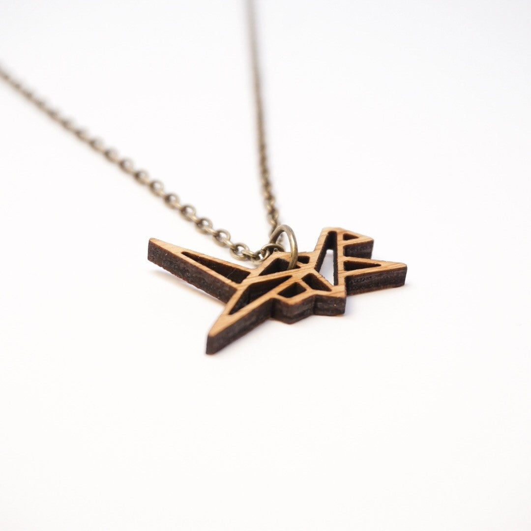 Origami Crane Bamboo Necklace