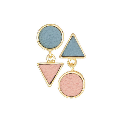Linked triangle/circle earrings (more colors)