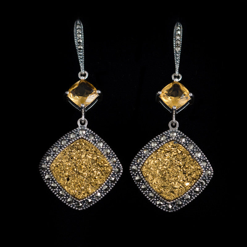 MARC - Druzy Gold and Citrine Earrings