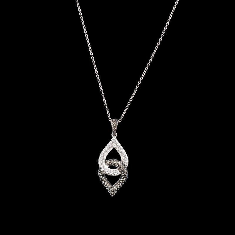 MARC - Teardrop Crystal and Marcasite Necklace