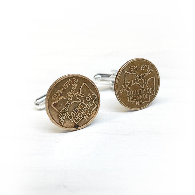 Monroe County, NY Sesquicentennial Token Cuff Links