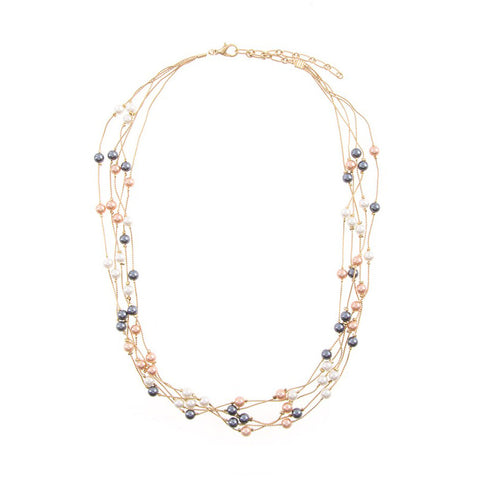Multi strand colorful pearl necklace