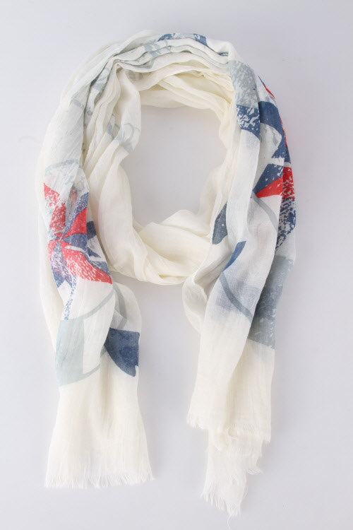 Nautical Theme Scarf with Frayed End - Beige