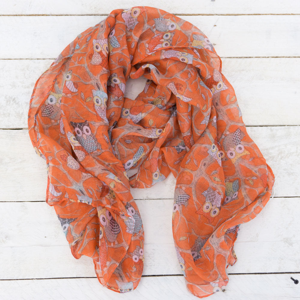 Colorful Owls Print Scarf (more colors)