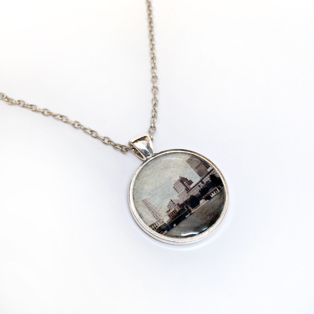 ROC Necklace - Rochester skyline faded colors