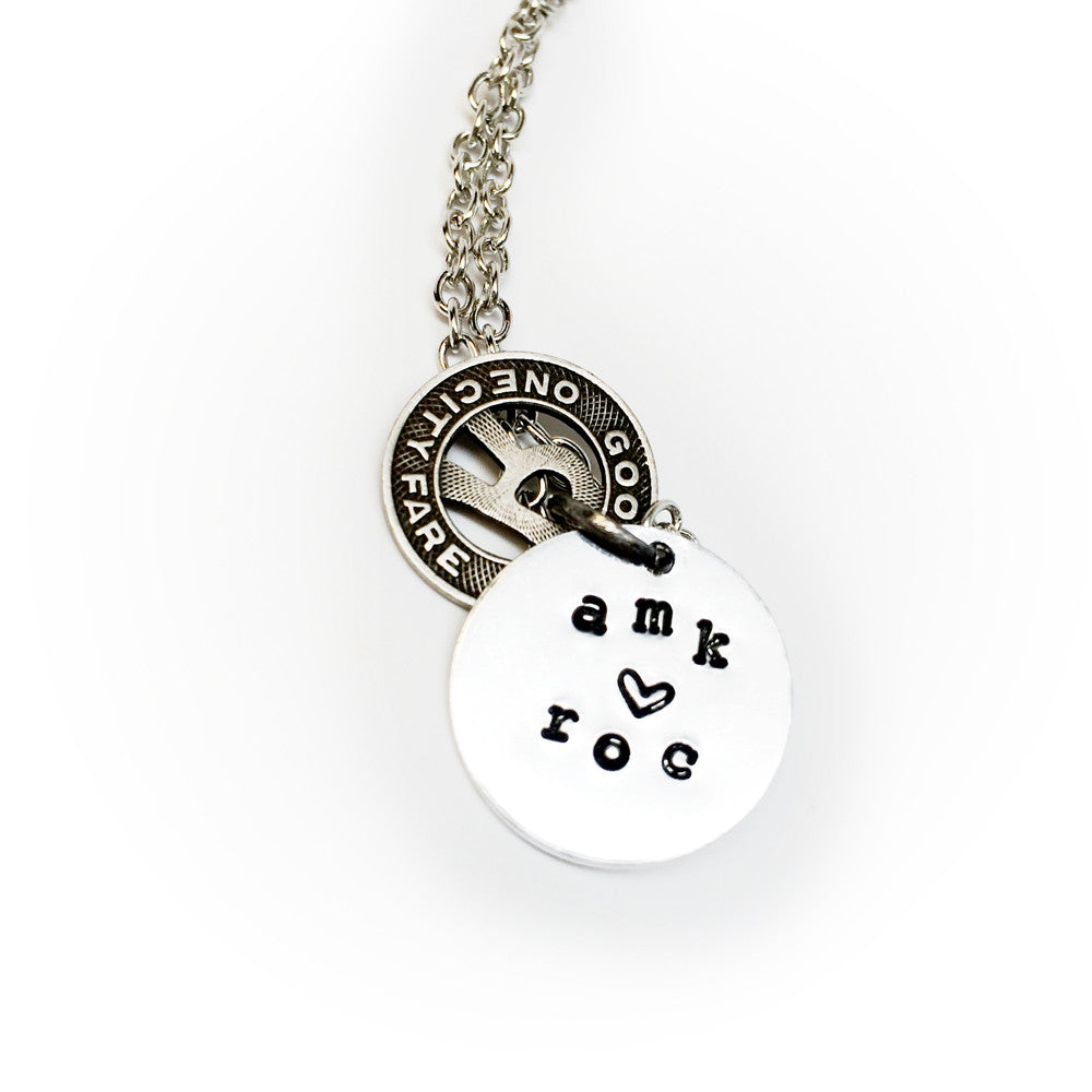 Rochester Transit Corp Token Necklace - with Custom Initials