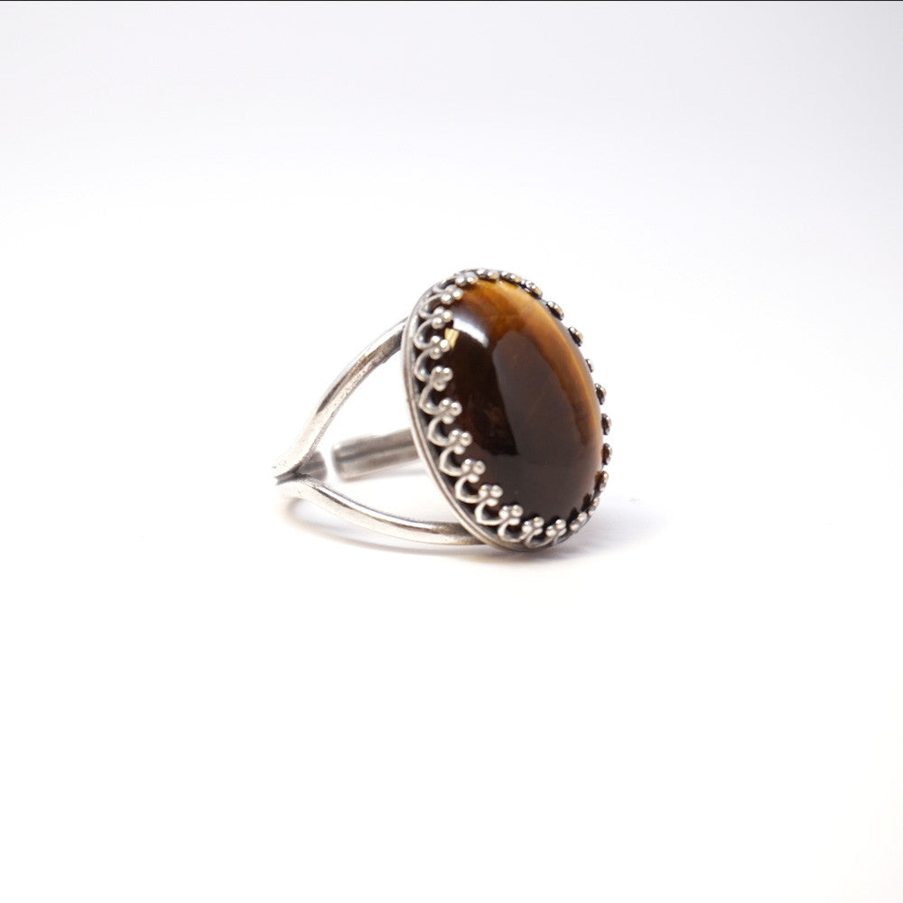 Tiger Eye Oval Ring