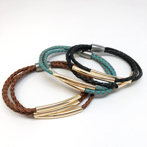Tri Rows Weaving Leather Bracelets
