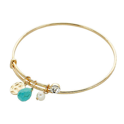 Stone Charm Wire Bangle - Turquoise