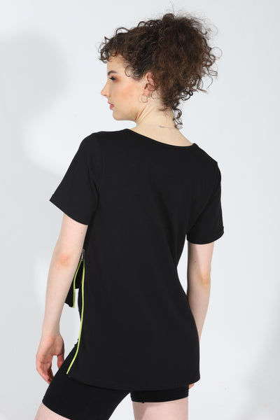 Back of JusRedor Bamboo Athleisure Premium Tee with Edgy wing extension