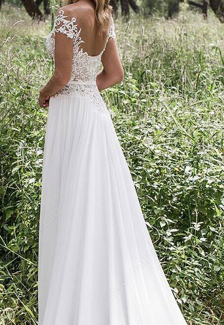 [ Arabela ] Vintage Lace Applique Wedding Dress Tailor-Made Gown