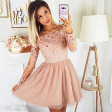 Load image into Gallery viewer, [ Cathy ]Long Sleeves Lace Hoco Dress Short Prom Dress Party Dress