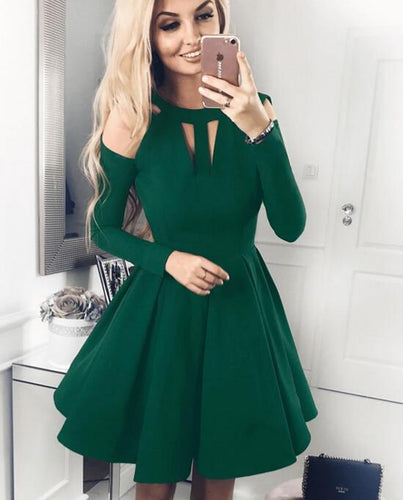 [ Madge ] Long Sleeves Satin Dress Short Prom Dress Party Dress HOCO Dress