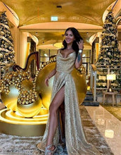 Load image into Gallery viewer, [ Trista ] Champagne Spaghetti Straps Embellished Prom Dress