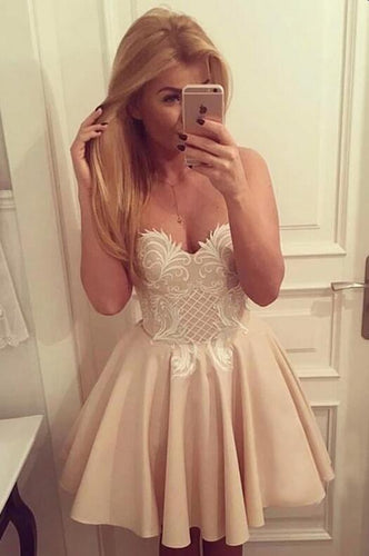 [ Maria ]Sweetheart Lace Applique HOCO Dress Short Prom Dress Party Dress