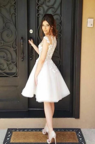 [ Novia ]Vintage Lace Applique HOCO Dress Short Prom Dress Party Dress