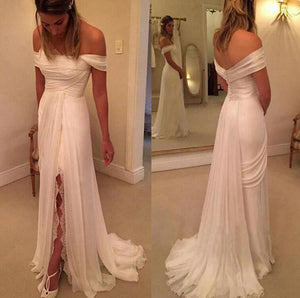 [ Teresa ]Off-shoulder Wedding Dress Formal Evening Party Gown Prom Dress