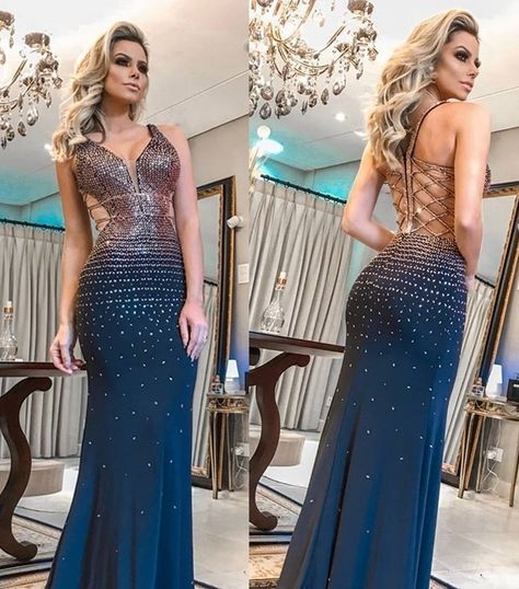 [ Elaine] Deep V neck Prom Dress Mermaid Party Dress With Beading