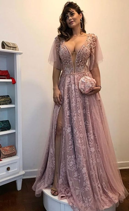 [ Roberta ] Lace Applique Women Formal Evening Party Gown Prom Dress