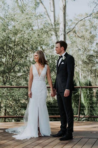 [ Viola ] Vintage Lace V Neck Wedding Dress Custom Made
