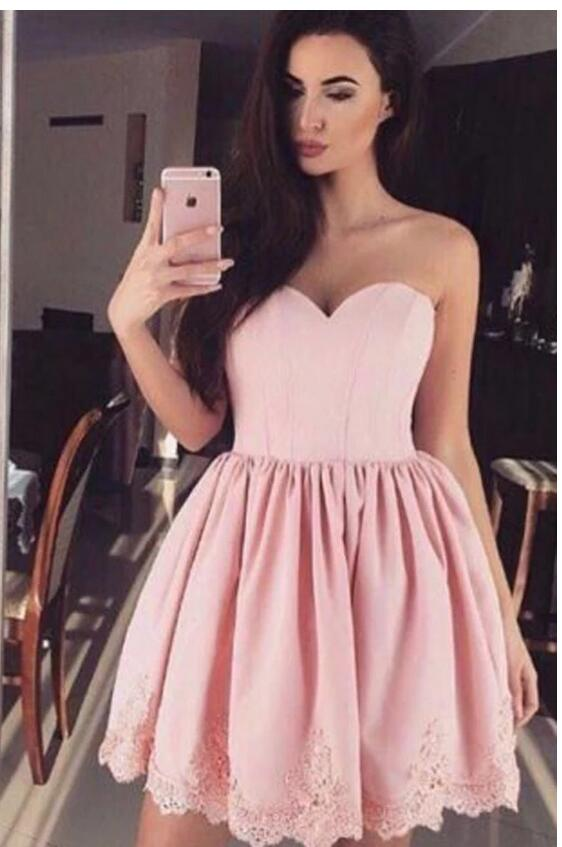 [ Fanny ]Sweetheart HOCO Dress Short Prom Dress Party Dress