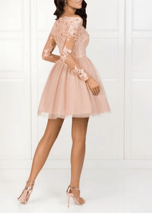 [ Cathy ]Long Sleeves Lace Hoco Dress Short Prom Dress Party Dress