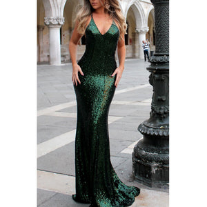 [ Frederica ] Bling Spaghetti Straps Embellished Prom Dress