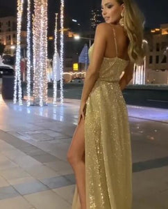 [ Trista ] Champagne Spaghetti Straps Embellished Prom Dress