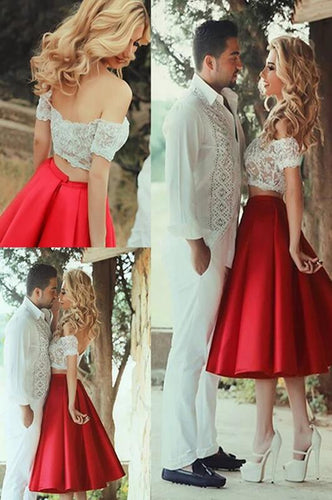 [ Polly ]Two Piece Lace Short Prom Dress Party Dress HOCO Dress Bridesmaid Dresses