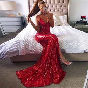 [ Gina ] Bling Spaghetti Straps Embellished Prom Dress