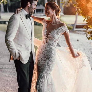[ Veromca ] Vintage Lace Applique Wedding Dress Custom Made