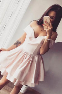 [ Ida ]Off Shoulder Satin HOCO Dress Short Prom Dress Party Dress