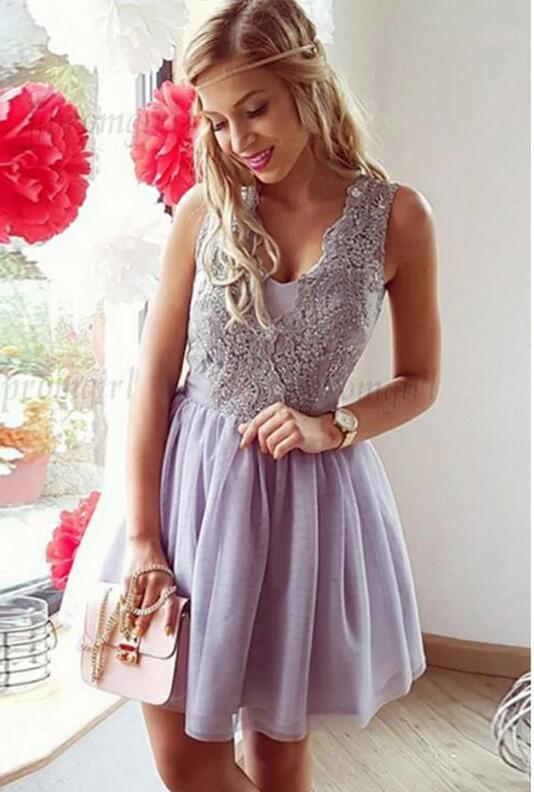 [ Eve ] Tulle Dress Bead Work Short Prom Dress Party Dress